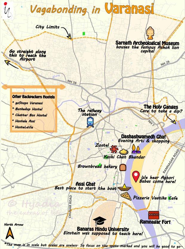 Varanasi Travel Map Ityadia - Varanasi map